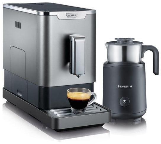 Severin Kaffeevollautomat KV 8090, Ultra-schlankes Design, 18 cm breit, gratis Milchaufschäumer im Wert von 89,99€ UVP und Garantieverlängerung 2+3 Jahre in grau-metallic-schwarz