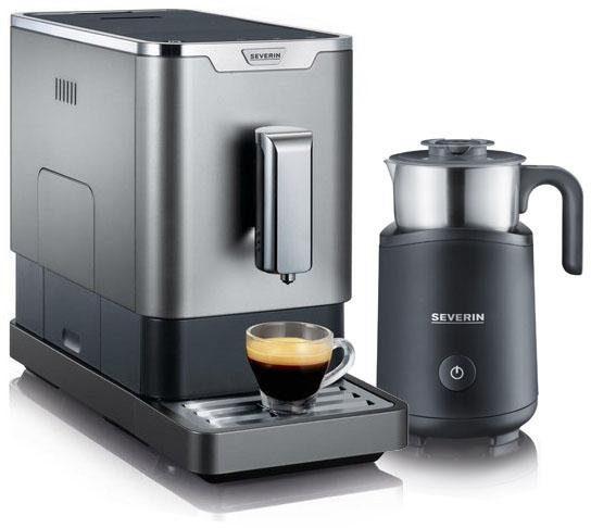 Severin Kaffeevollautomat KV 8090, 1,1l Tank, Kegelmahlwerk, ultra-schlankes Design,gratis Milchaufschäumer im Wert von 89,99€ UVP