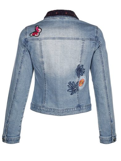 Alba Moda Detailreiche Jeansjacke mit aufwändiger Stickerei