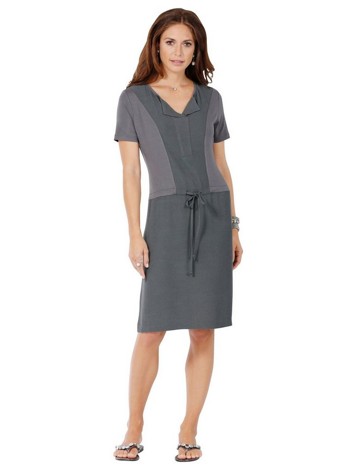Damen Mona Jerseykleid in modischem Materialmix grau   04055714446190