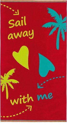 Egeria Strandtuch »Sail Away« (1-St), mit Spruch-Motiv