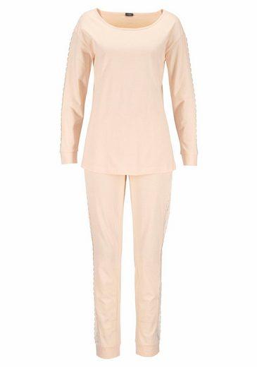 Vivance Dreams Pyjama mit seitlichen Streifen aus Spitze