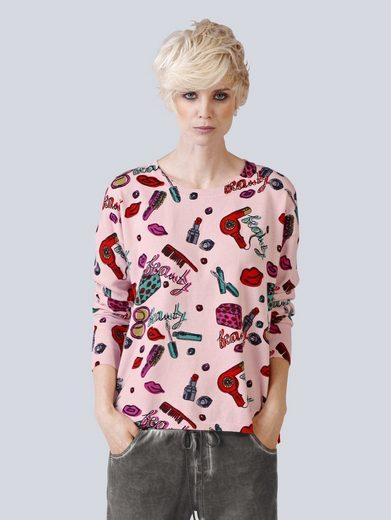Alba Moda Pullover mit Beauty-Print mit Rundhalsausschnitt