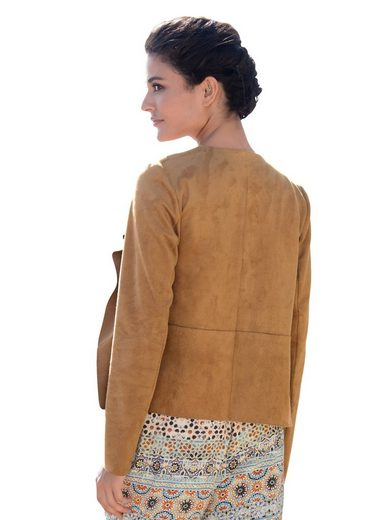 Alba Moda Jacke aus Kunstleder in Veloursoptik