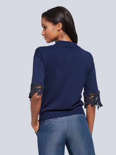 Alba Moda Poloshirt mit Spitzenärmeln