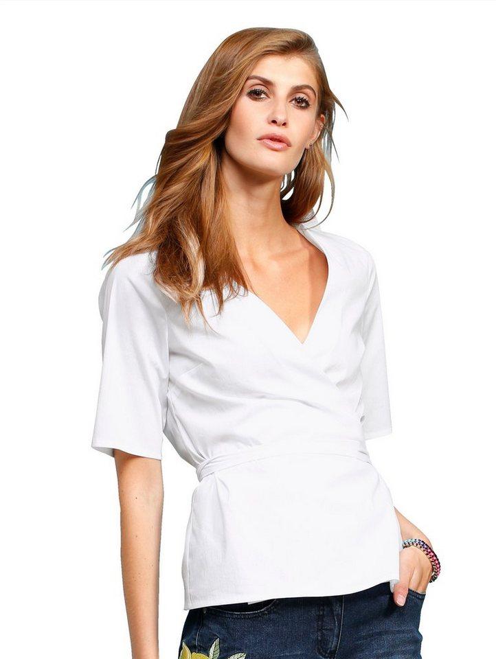Damen Alba Moda  Wickelbluse mit V-Ausschnitt weiß | 04055714633217