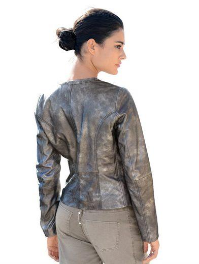 Alba Moda Lederjacke mit Metallic-Print mit Metallic-Effekt