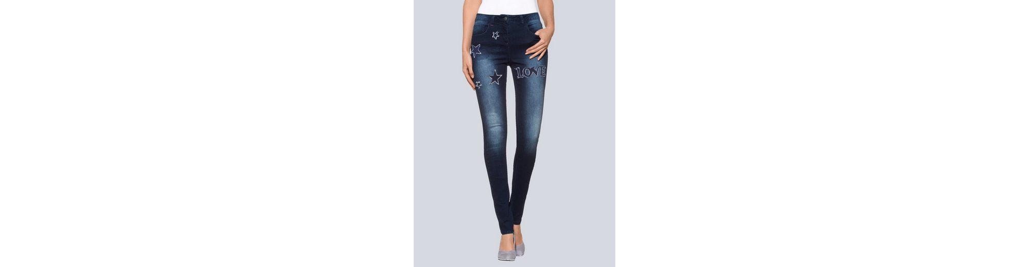 Aberdeen Alba Moda Skinny-Jeans mit Sternenpatch Auslass-Websites Besonders Verkauf rAAwA4