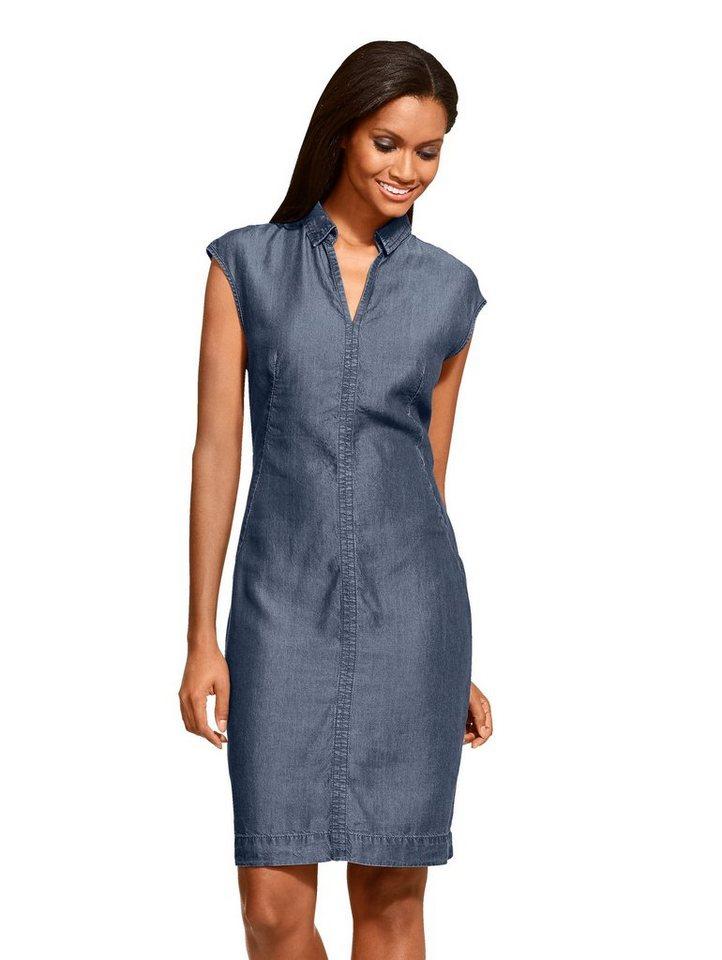Damen Alba Moda Kleid aus einer Baumwoll-Lyocell-Mischung blau | 04055714455635