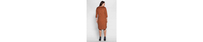 sheego Style Lederimitatkleid, Häkelbordüre an allen Kanten