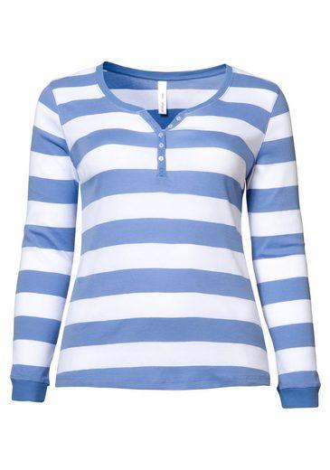 sheego Casual Langarmshirt, Garngefärbte, breite Streifen