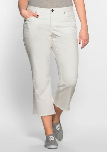 sheego Casual 7/8-Hose, Fransen am Saum