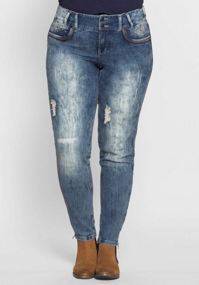 sheego Denim Stretch-Jeans Reißverschluss am Hosenbein online kaufen ... 2d4c44dc28