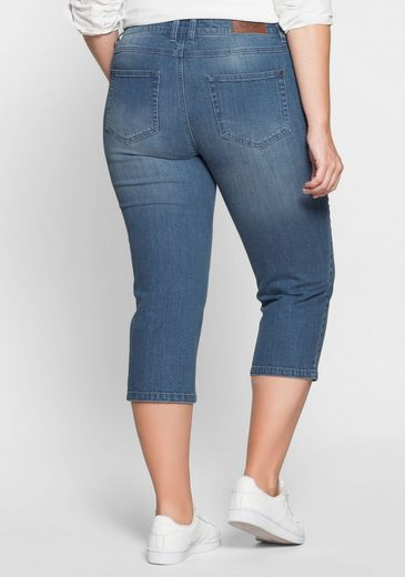 Sheego Denim 3/4 Jeans, With Pearl Embroidery