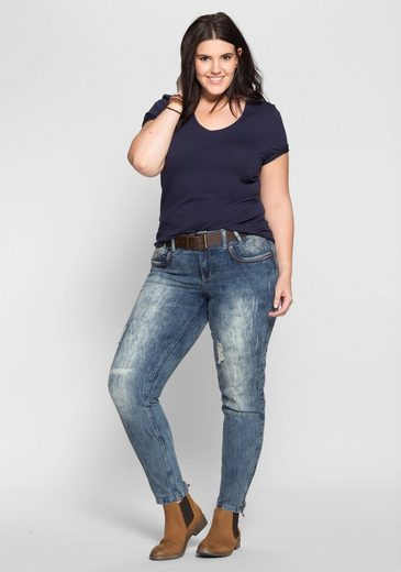 Sheego Denim Stretch Jeans, Zip Pant Leg On