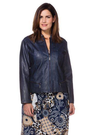 sheego Style Lederimitatjacke, individuelle Waschung - Jedes Teil ein Unikat