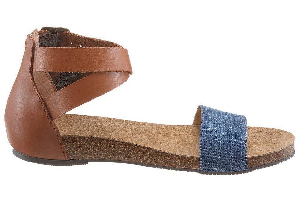 Eddie Bauer Leder-Sandale mit Textileinsatz in Jeansblau-Braun
