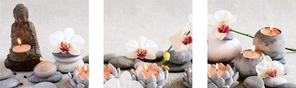 EUROGRAPHICS Wandsticker-Set »White Orchids«, 3x 30/30 cm