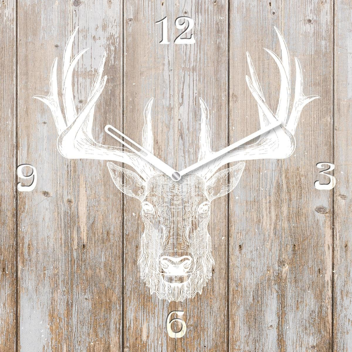 EUROGRAPHICS Glasuhr »Deer Head On Wood«, 55/55 cm