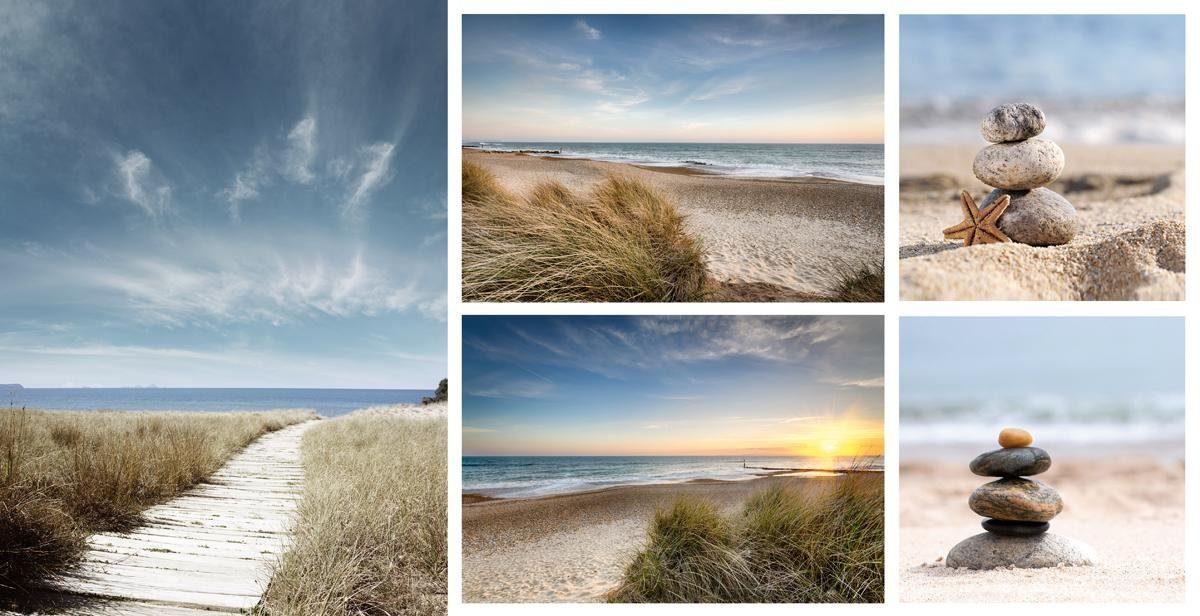 EUROGRAPHICS Leinwandbild »Beach«, (Set), 5-tlg. 66/48 cm