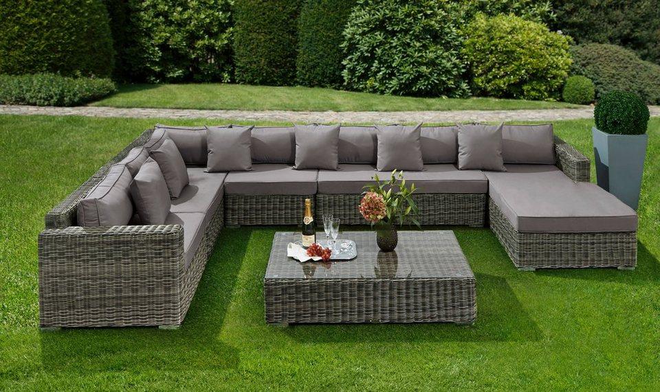 baidani loungeset aperfectiona 25 tlg ecklounge tisch 120x70cm rattan garten lounge