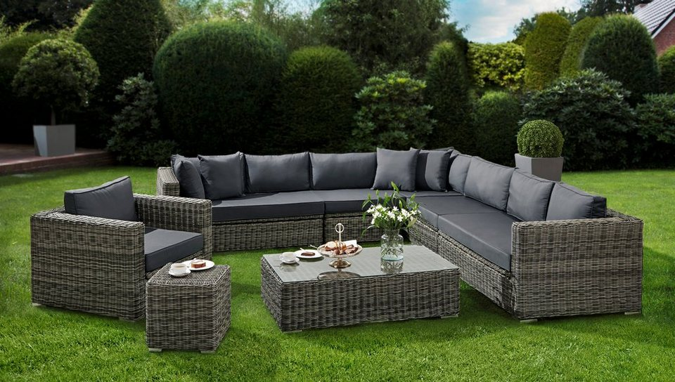 baidani loungeset celebration 25 tgl ecklounge sessel tisch beistellstisch polyrattan. Black Bedroom Furniture Sets. Home Design Ideas