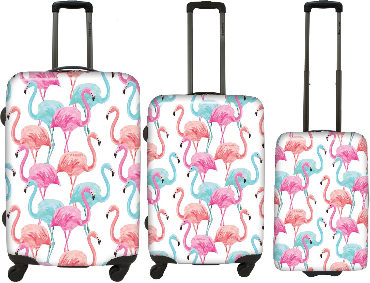 Saxoline Hartschalen Trolley-Set mit 2/4 Rollen, »Flamingo« (3tlg.)