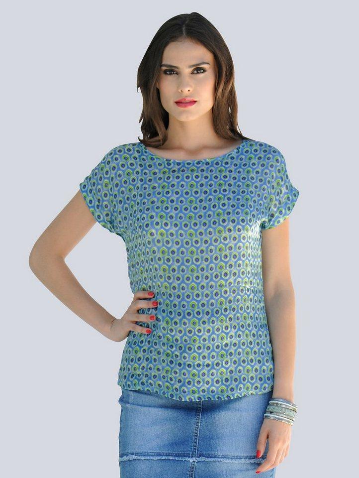 Alba Moda Seidenbluse in modernem Tupfendessin | Bekleidung > Blusen > Seidenblusen | Blau | Seide | Alba Moda