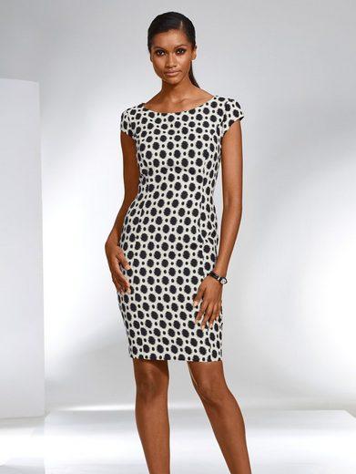 Alba Moda Kleid in gewebtem Punktedessin