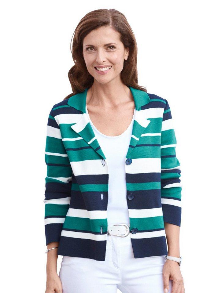 Damen Mona Strickblazer mit edel-sportivem Blockringel blau | 04055714279361