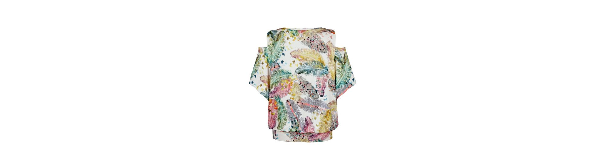 Alba freier Federprint Schulter Shirt Alba Moda Moda und mit rfqnwHUr6T