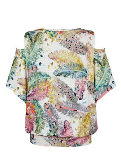 Alba Moda Shirt mit Federprint und freier Schulter