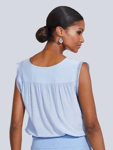 Alba Moda Blusenshirt mit Spitzenbesatz