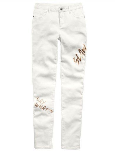 Alba Moda Jeans mit Metallic-Prints in schlanker Röhrenform