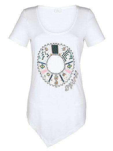 Alba Moda Motiv-Shirt mit dekorativem Kreismotiv im Vorderteil
