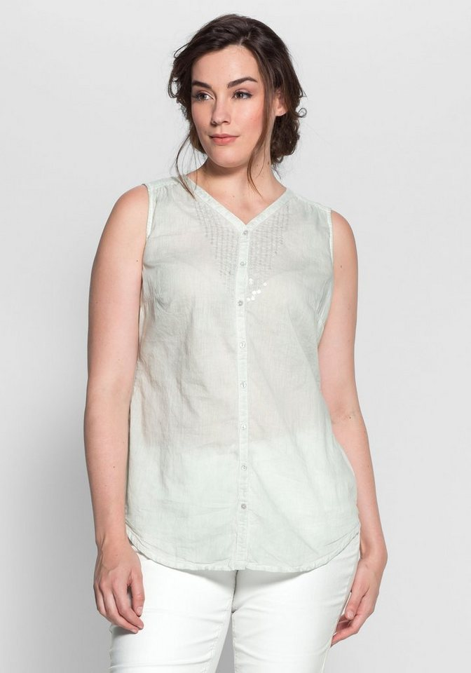 sheego Style Blusentop, Modischer Oil-washed-Look