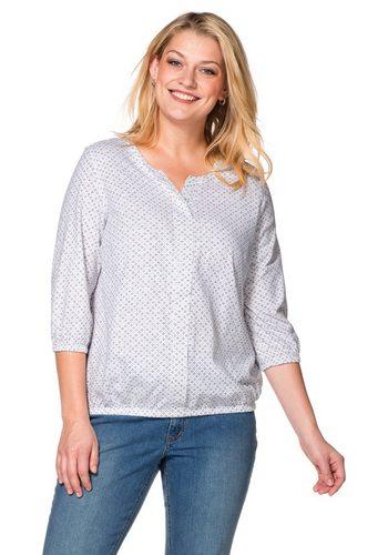 Damen sheego Casual 3/4-Arm-Shirt mit Minimal-Print weiß | 04054697447620