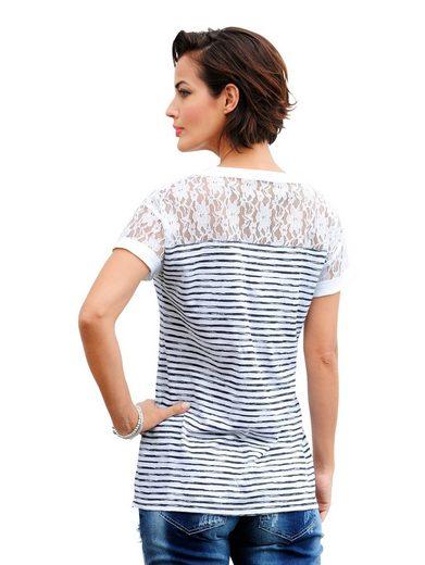Alba Moda Druckshirt mit Spitze und Pailletten