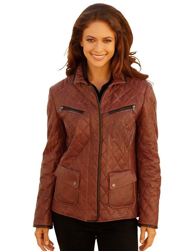 Damen Mona Lederjacke mit leichter Wattierung braun   04055714562302