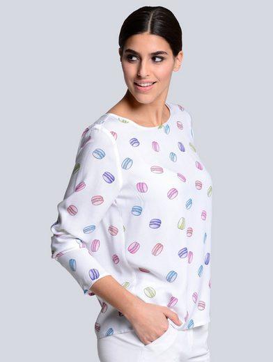 Alba Moda Blusenshirt mit Macaron-Print und Rundhalsausschnitt