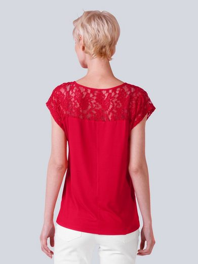 Alba Moda Shirt With Lace Insert And Round Neck