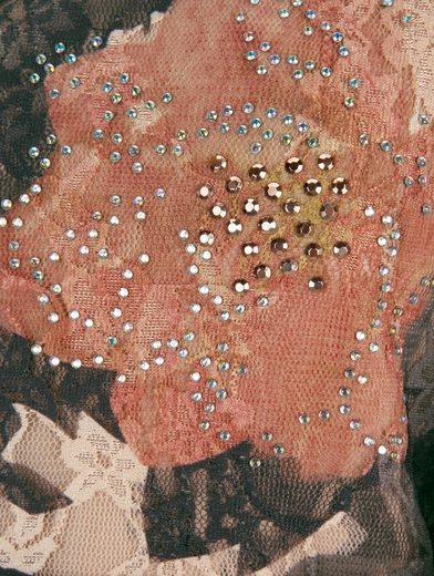 Mona Spitzenshirt mit Blumendruck und Strass-Steinen