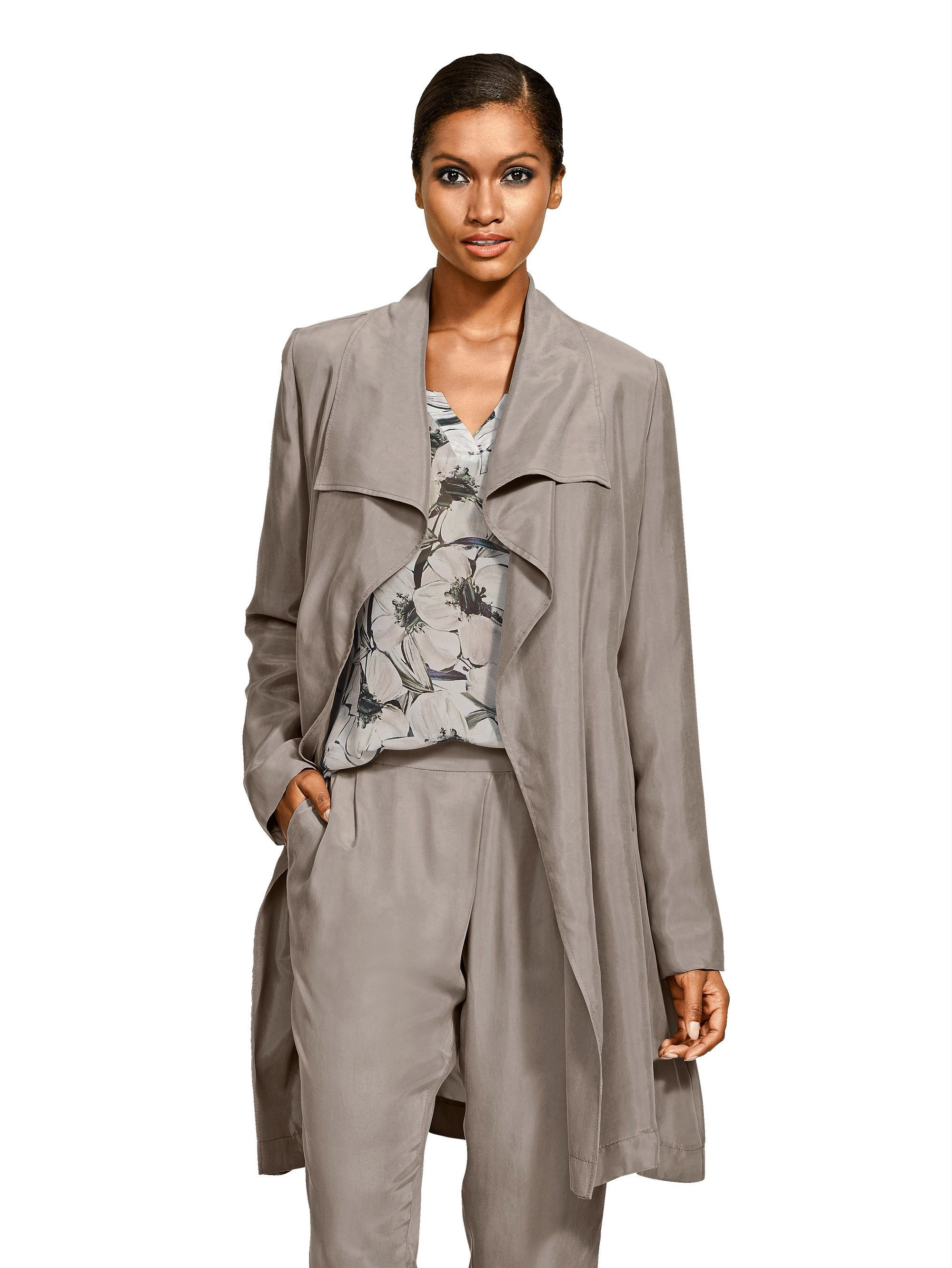 Alba Moda Trenchcoat aus hochwertiger Cupro-Qualität | Bekleidung > Mäntel > Trenchcoats | Cupro | Alba Moda
