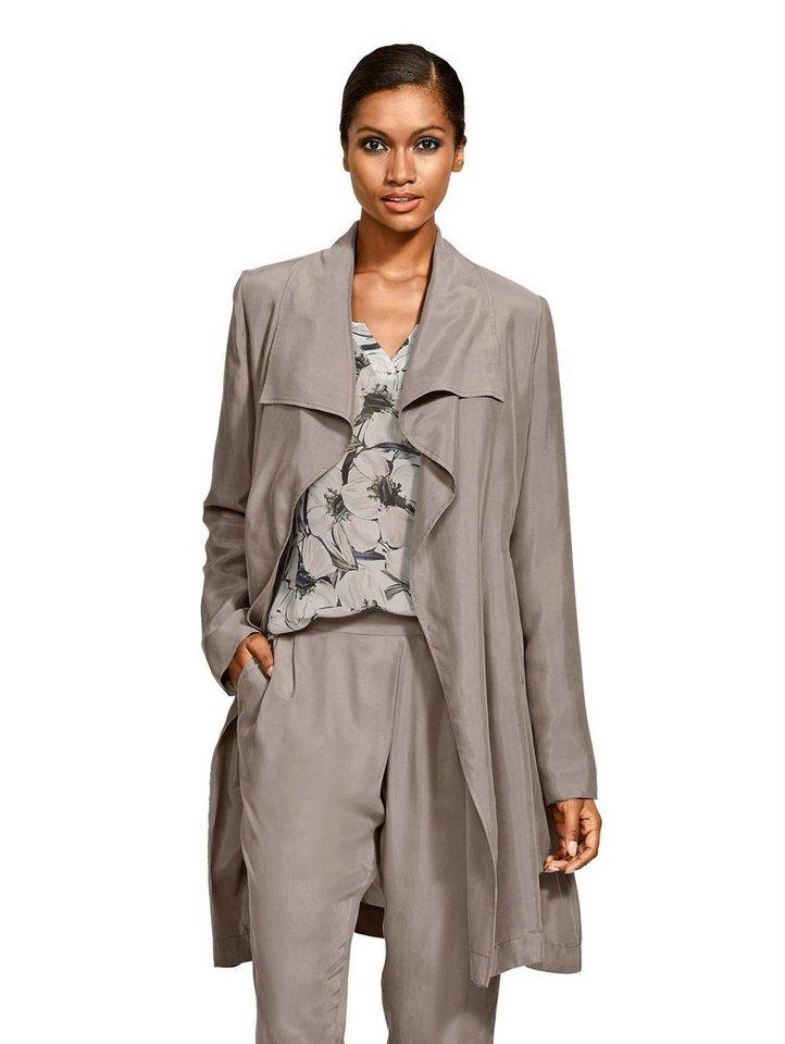 Damen Alba Moda  Trenchcoat aus hochwertiger Cupro-Qualität braun | 04055714450876