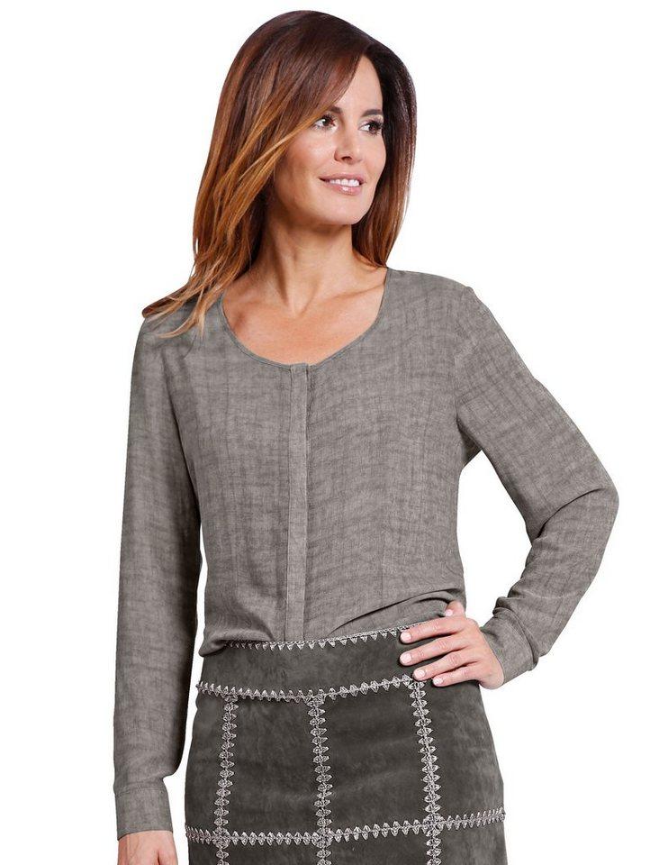 Damen Mona Bluse aus weich fließender Viskose braun   04055714505163