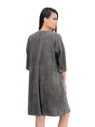 Alba Moda Mantel aus softem Kunstleder in Veloursoptik
