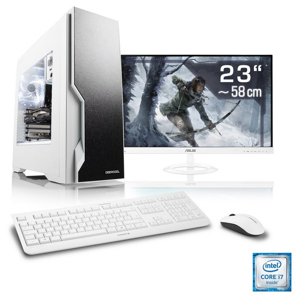 "CSL Gaming PC Set | Core i7-6700 | GTX 1050 Ti | 16 GB RAM | 23"" TFT »Speed T7793 Windows 10 Home«"