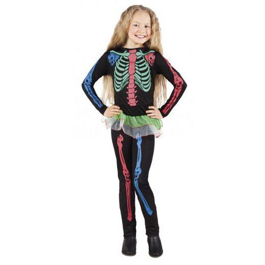 Buntes Skelett Mädchen Halloween Kostüm