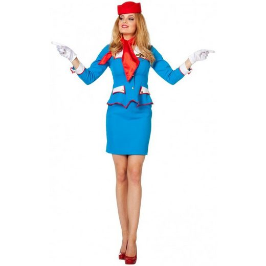 Blue Airline Retro Stewardess Kostüm
