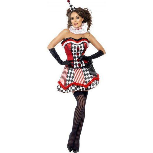 Sexy Cute Clown Kostüm schwarz-rot-weiß